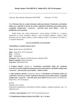 Detský domov MAURÍCIUS, Dolná 49/21, 967 01 Kremnica