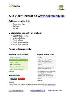 Ako vložiť inzerát na www.bezrealitky.sk