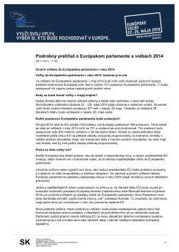 Podrobný prehľad o Európskom parlamente a volbách 2014
