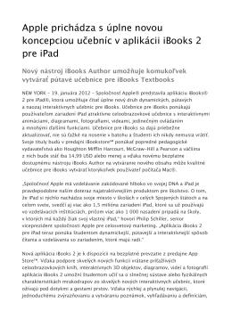 Apple prichádza s úplne novou koncepciou učebníc v aplikácii
