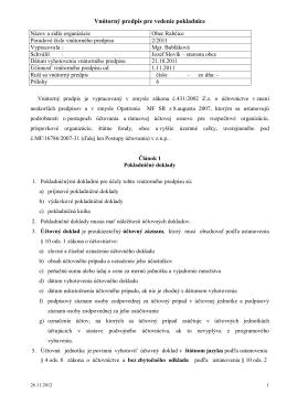 Vnútorný predpis pre vedenie pokladnice obce