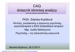 CAQ dotazník klinickej analýzy