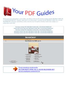 Instrukcje obsługi SILVERCREST SSMS 300 A1 HAND BLENDER