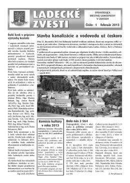Február 2013 - Aktuality obce Ladce