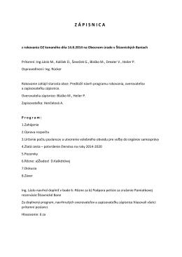 Zápisnica z rokovania OZ 14.8.2014