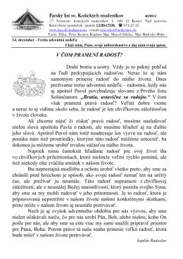14. December 2014 - Farnosť sv. košických mučeníkov