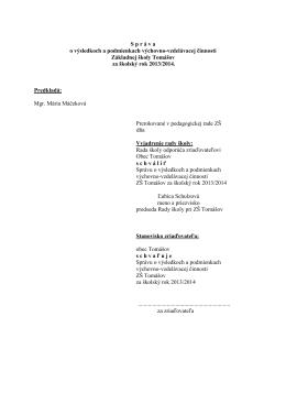 Správa o výsled.a podm.vých.vzdel.činnosti 13-14