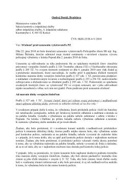 Sťažnosť proti uzneseniu vyšetrovateľa PZ