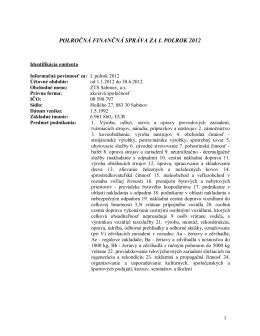 polročná finančná správa za i. polrok 2012