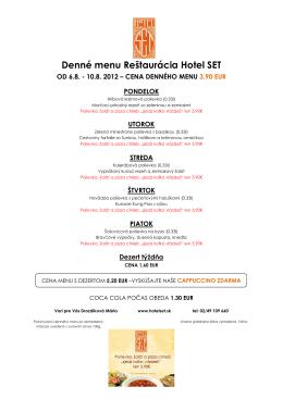 Denné menu Reštaurácia Hotel SET