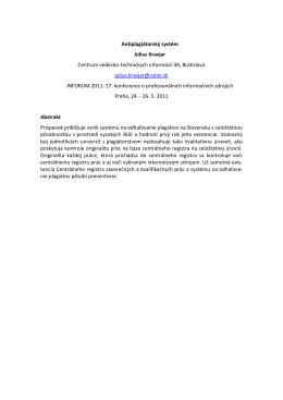 Antiplagiátorský systém Július Kravjar Centrum vedecko