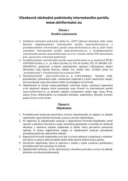 Všeobecné obchodné podmienky internetového portálu www