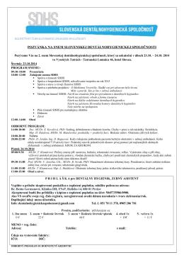 pozvánka na snem slovenskej dentálnohygienickej