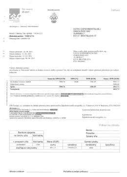 Faktúra ZSE - Spotreba elektriny - Ústav experimentálnej onkológie