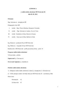 Zápisnica z RZ zo dňa 9.9.2014 MŠ Prešovská