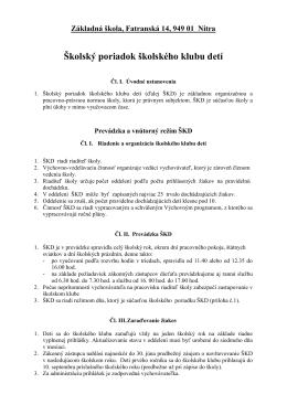 Základná škola Fatranská, Fatranská 14, 949 01 Nitra
