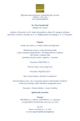Pozvánka - Hospodársky klub