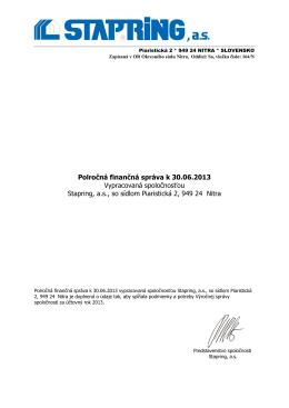 Polročná finančná správa 2013