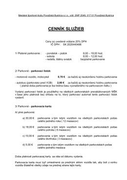 Cenník služieb PA – od 1.3. 2011