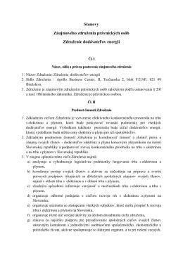 Stanovy Záujmového združenia právnických osôb Združenie