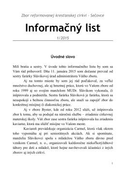 Informačný List 1/2015