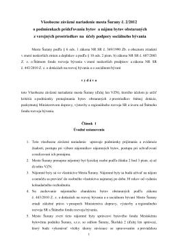 Všeobecne záväzné nariadenie mesta Šurany č. 2