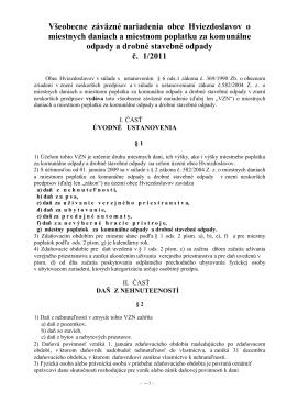 Všeobecne záväzné nariadenia obce Hviezdoslavov o miestnych