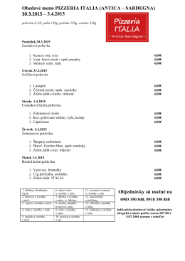 Obedové menu PIZZERIA ITALIA (ANTICA