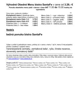 Výhodné Obedné Menu bistra SantaFe v cene od 3.29