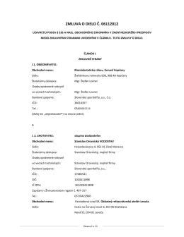 ZMLUVA O DIELO Č. 06112012 zo dňa 5. 4. 2013