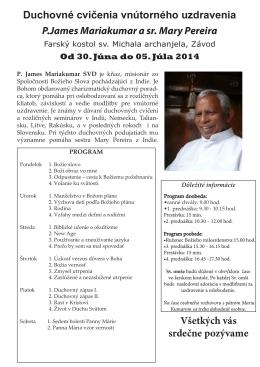 Duchovné cvičenia vnútorného uzdravenia P.James Mariakumar a