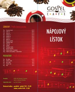 NÁPOJOVÝ LÍSTOK - gospelcafeba.sk