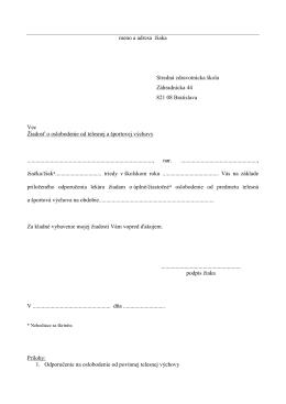 meno a adresa žiaka Stredná zdravotnícka škola Záhradnícka 44