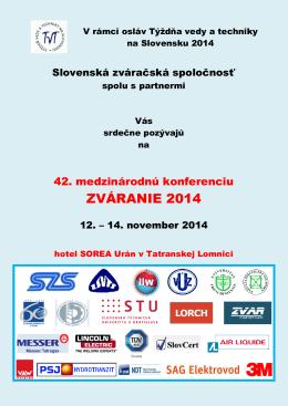 ZVÁRANIE 2014 - szswelding.sk