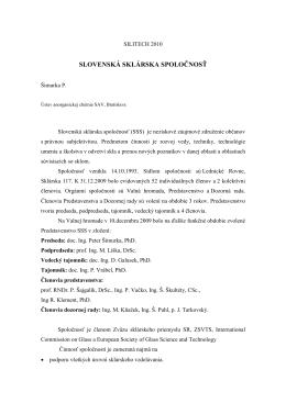 Šimurka P. - Slovenská sklárska spoločnosť