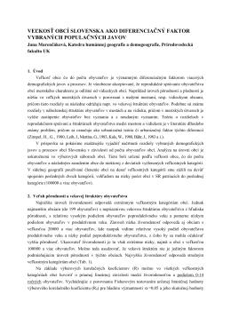 ivorodenosš obyvate¾stva Slovenska na úrovni obcí