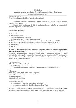 Zápisnica zo zasadnutia OZ dňa 11.08..2014