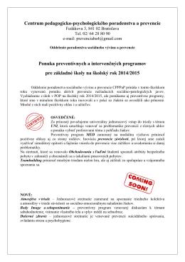 Ponuka preventívnych a intervenčných programov pre základné