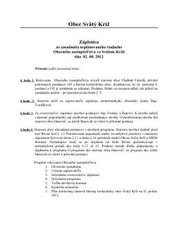 Zápisnica z obecného zastupiteľstva 2.8.2012