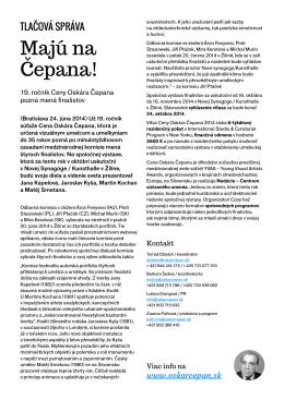 Tlačová správa COČ 2014 – Majú na Čepana!