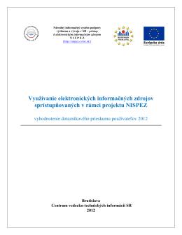 Vyhodnotenie dotazníkového prieskumu - 2012 - nispez