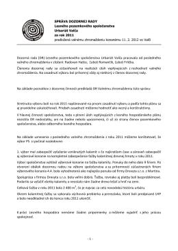 Správa Dozornej rady PS Urbariát Valča za rok 2011