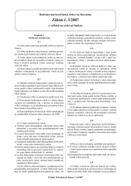 Zákon č. 3/2007 o voľbách na cirkevné funkcie