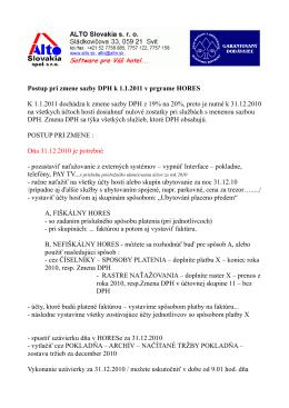 Postup pri zmene sazby DPH k 1.1.2011 v prgrame HORES K 1.1