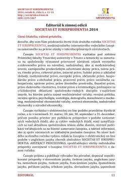 Editoriál k zimnej edícii SOCIETAS ET IURISPRUDENTIA 2014