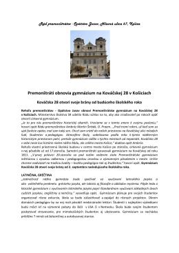 Premonštráti obnovia gymnázium na Kováčskej 28