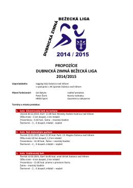 propozície dubnická zimná bežecká liga 2014/2015