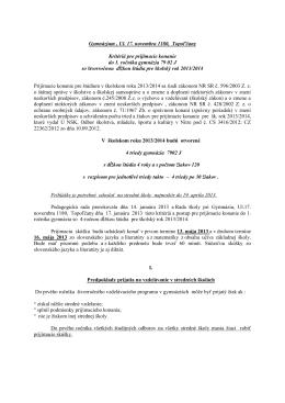 641017 Gymnázium Topo??any, 17.novembra 1180/16, Topo??any