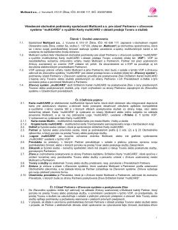 Všeobecné obchodné podmienky spoločnosti Multicard a.s. pre