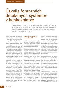 Úskalia forenzných detekčných systémov v bankovníctve